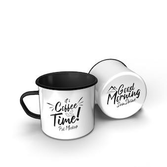 Dubbel metaal drinken koffie camping mok klassieke stijl geïsoleerde mockup
