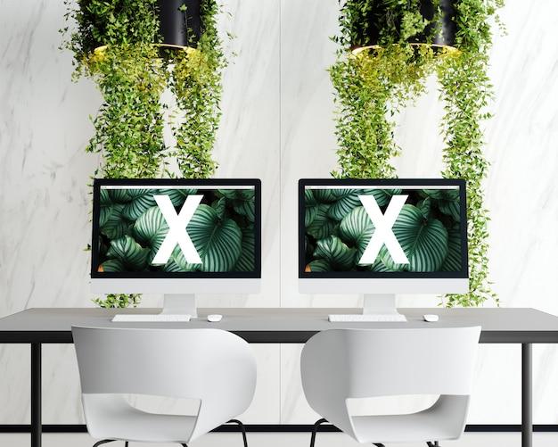 Dubbel scherm met bloemenlamp