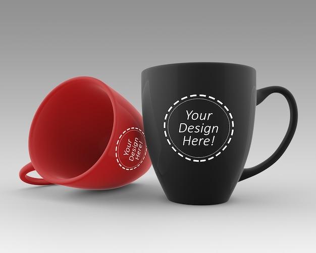 Dubbele bistro cafe cups mockup sjabloon
