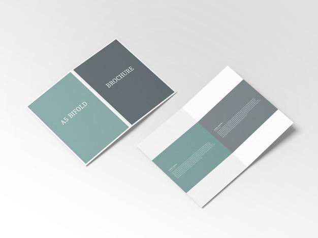 Dubbelgevouwen a5 brochure mockup