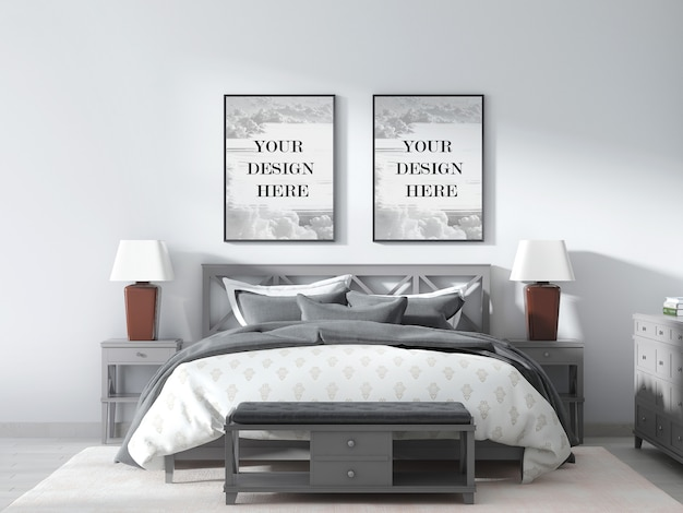Dubbelwandig frame mockup in interieur met grijs slaapkamermeubilair