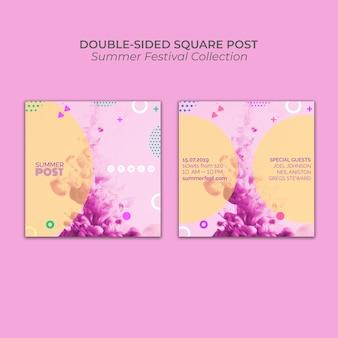 Dubbelzijdig vierkant berichtsjabloon voor zomerfestival