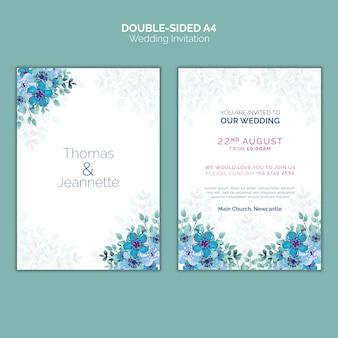Dubbelzijdige bruiloft uitnodiging sjabloon