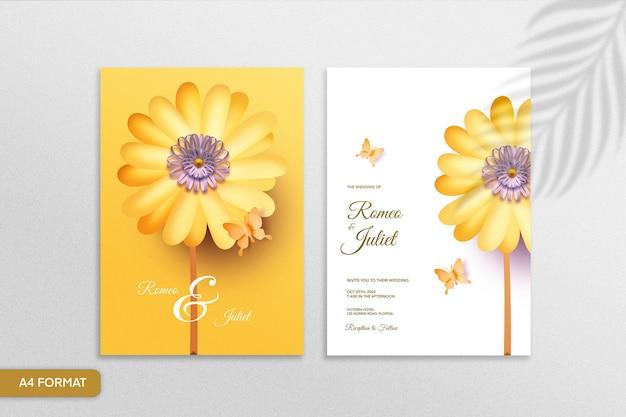 Dubbelzijdige papieren huwelijksuitnodiging in bloemenstijl met zonnebloem