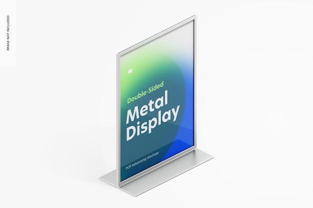 Dubbelzijdige poster metalen desktop display mockup, isometrisch rechts aanzicht