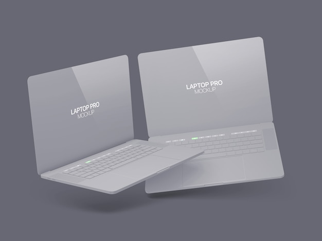 Due laptop galleggianti mockup laptop