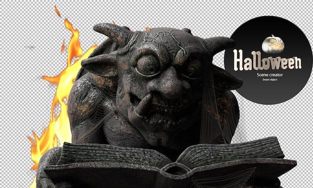 Duivel standbeeld demon standbeeld close-up halloween decoratieve beelden