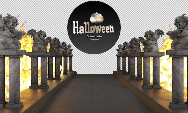 Duivelsbeelden demonenbeelden naast loopbrug halloween decoratieve beelden