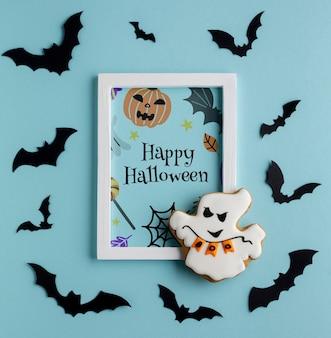 Dulces de halloween y marco