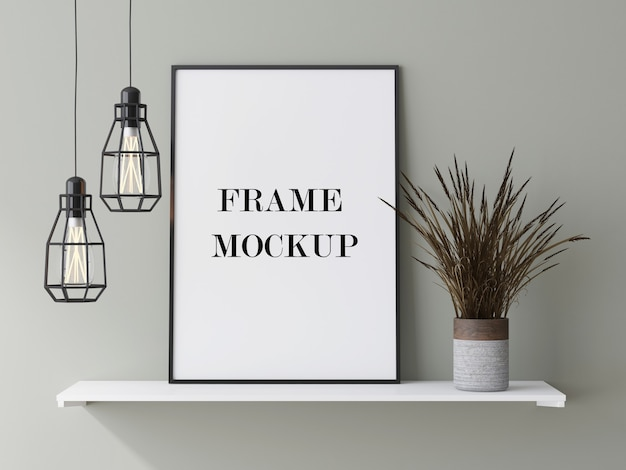Dun zwart frame leunend tegen de muur naast droge plant 3d-rendering mockup