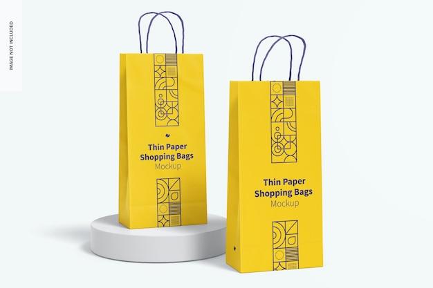 Dunne papieren boodschappentassen mockup, juiste weergave
