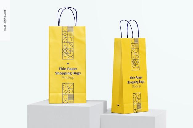Dunne papieren boodschappentassen mockup