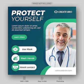 Dynamisch coronavirus social media post-sjabloonontwerp
