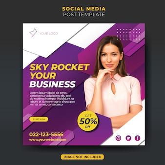 Dynamisch paars bedrijfsbureau instagram social media postfeedsjabloon
