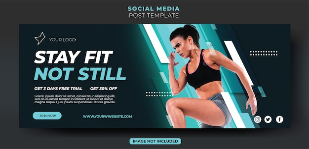 Dynamische lichtblauwe fitnesstraining sociale media banner voorbladsjabloon feed feed