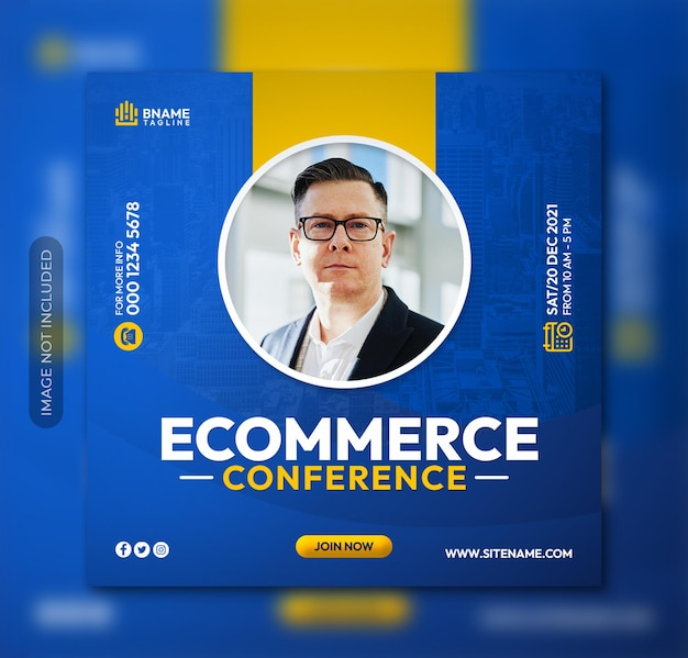 E-commerce zakelijke conferentie vierkante flyer of instagram social media postsjabloon