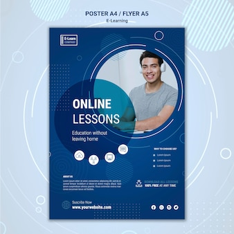 E-learning concept poster sjabloon