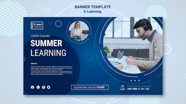 E-learning concept sjabloon voor spandoek Gratis Psd