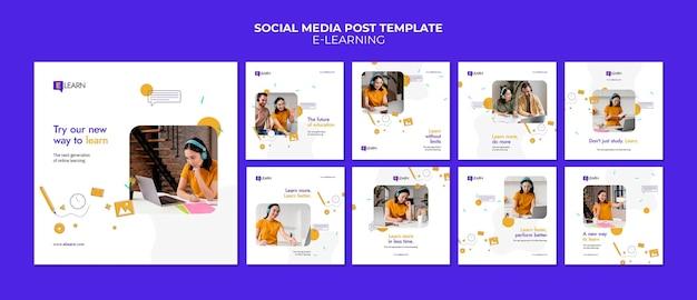 E-learning concept social media posts