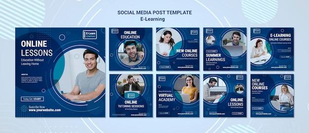 E-learning concept sociale media post sjabloon