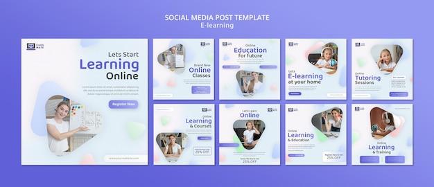 E-learning social media posts sjabloonontwerp