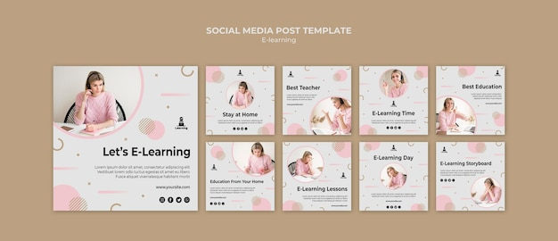 E-learning social media postsjabloon