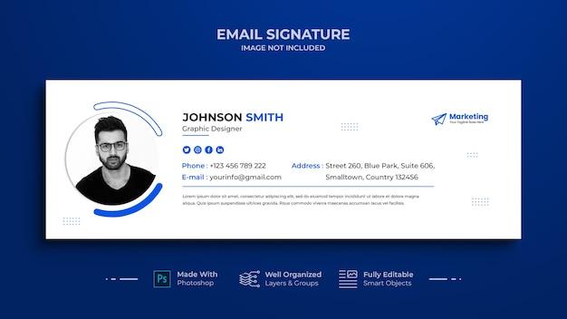 E-mailhandtekening sjabloonontwerp of e-mailvoettekst en persoonlijke omslag voor sociale media, sociaal netwerk