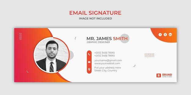 E-mailhandtekening sjabloonontwerp of e-mailvoettekst en persoonlijke omslag voor sociale media