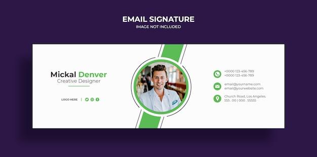 E-mailhandtekening sjabloonontwerp of e-mailvoettekst en persoonlijke omslagsjabloon voor sociale media