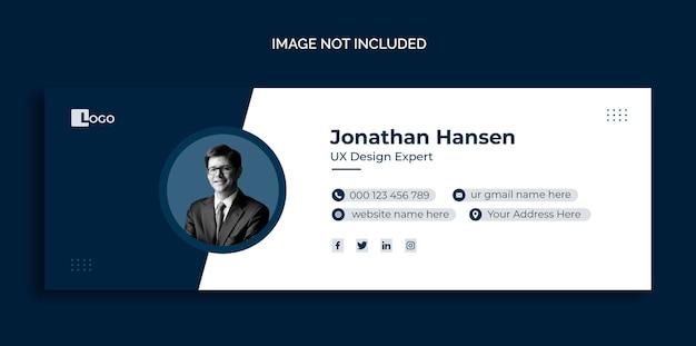 E-mailhandtekening sjabloonontwerp of persoonlijke omslagsjabloon voor sociale media