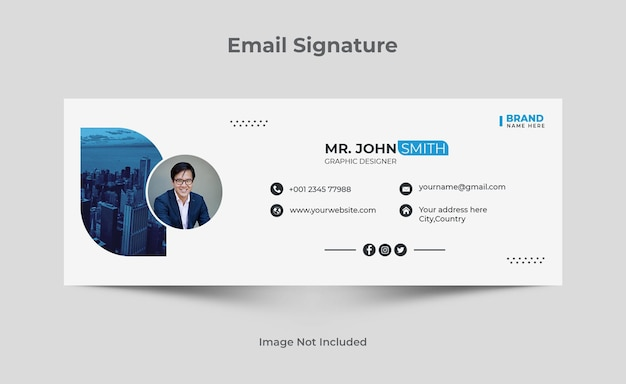 E-mailhandtekeningsjabloon of e-mailvoettekst en persoonlijk omslagontwerp voor sociale media