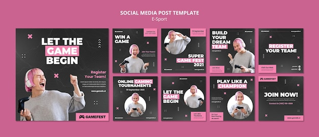 E sport social media post ontwerpsjabloon