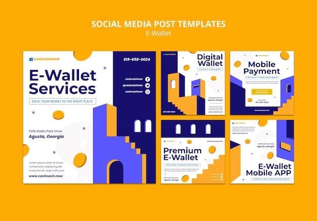 E-wallet-services social media postsjabloon