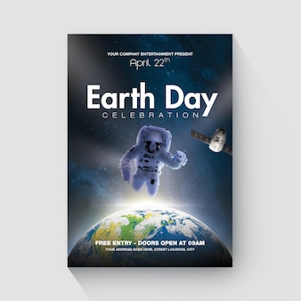 Eart day flyer space style template
