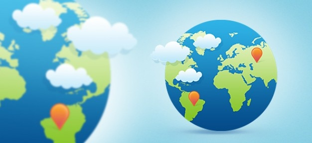 Earth globe in trendy vlakke stijl