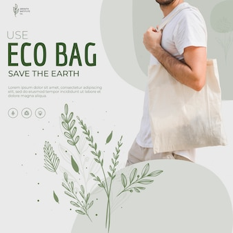 Eco bag reciclar para el medio ambiente flyer cuadrado