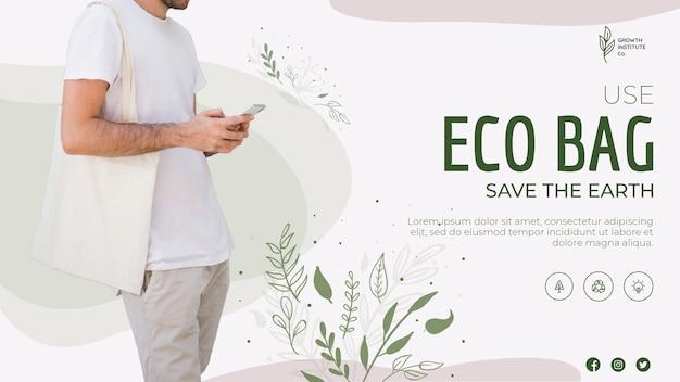 Eco bag reciclar para plantilla de banner de medio ambiente