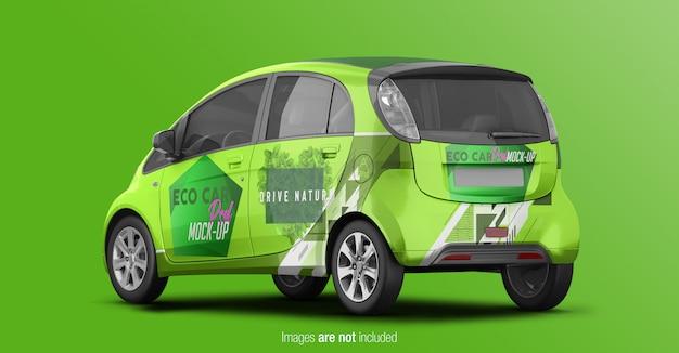 Eco car mockup terug perspectief uitzicht