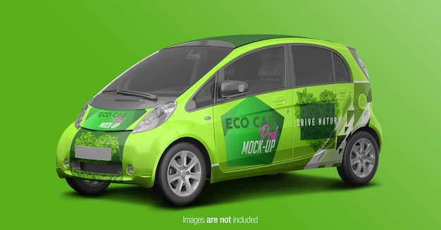 Eco car psd mockup perspectiva vista