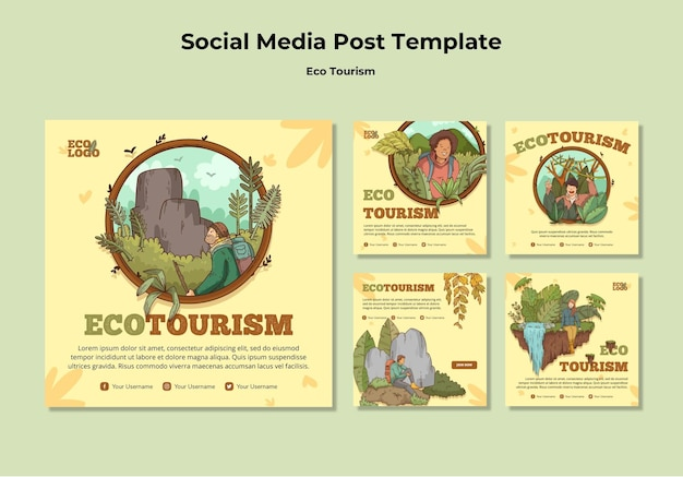 Eco toerisme concept sociale media post sjabloon