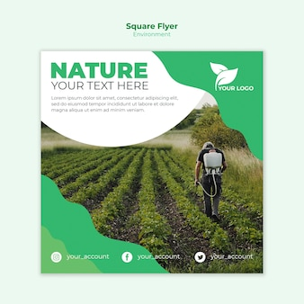 Ecologische vierkante flyer sjabloon concept