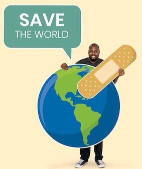 Ecologo allegro con salvare i simboli del mondo