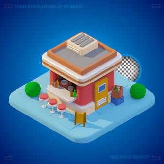 Edificio de restaurante de comida rápida de renderizado 3d