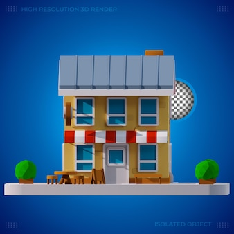 Edificio de restaurante moderno de renderizado 3d
