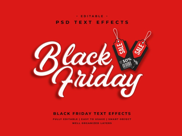 Editable efecto de estilo de texto de viernes negro 3d