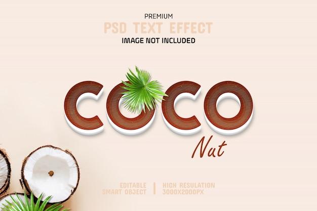 Editable plantilla de efecto de texto 3d de coco