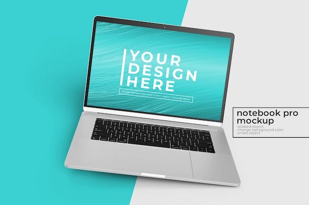 Editable realistic 15 inch laptop pro mock up design s en posición girada a la derecha en la vista central