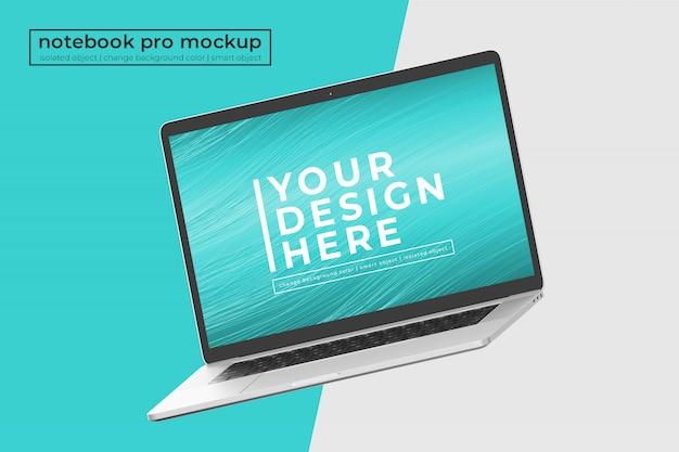 Editable realistic premium 15 inch laptop pro mockup design en posición isométrica girada a la izquierda
