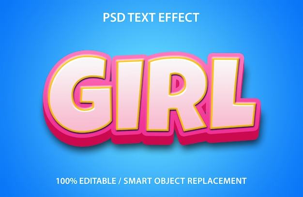 Editable text effect girl