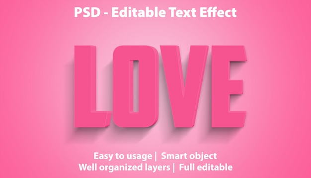 Editable text effect love premium